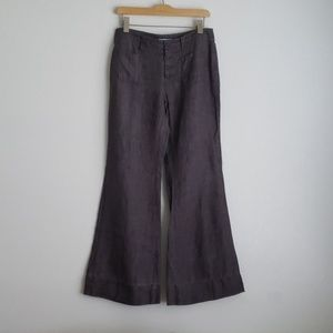 Cabi Gray Linen Wide Leg Button Front Pants